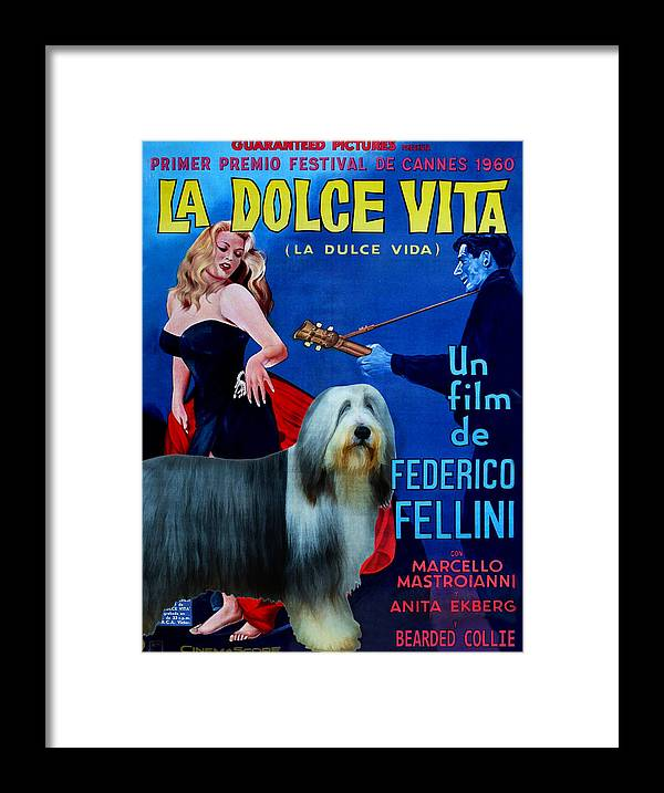 Bearded Collie Framed Print featuring the painting Bearded Collie Art Canvas Print - La Dolce Vita Movie Poster by Sandra Sij