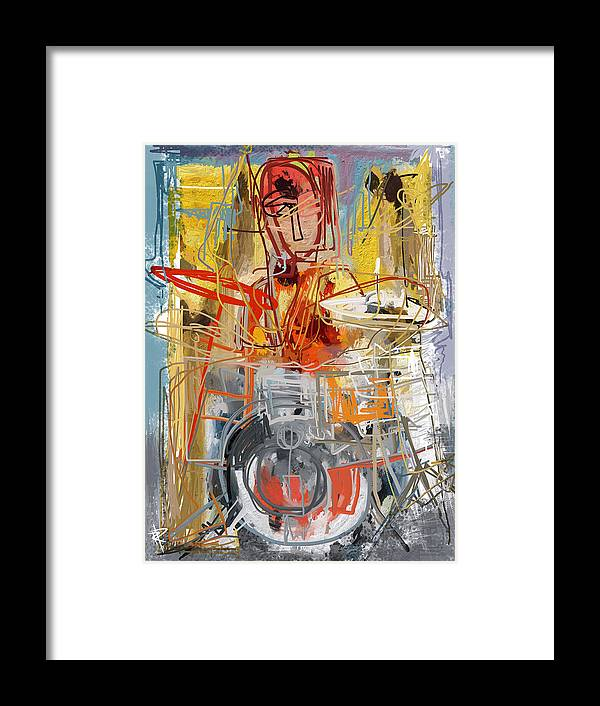 Drummer Framed Print featuring the mixed media Beat Banging by Russell Pierce