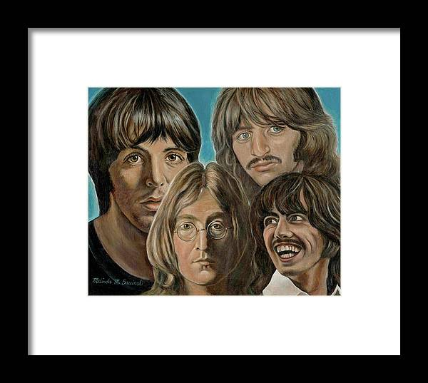 Beatles Framed Print featuring the painting Beatles The Fab Four by Melinda Saminski