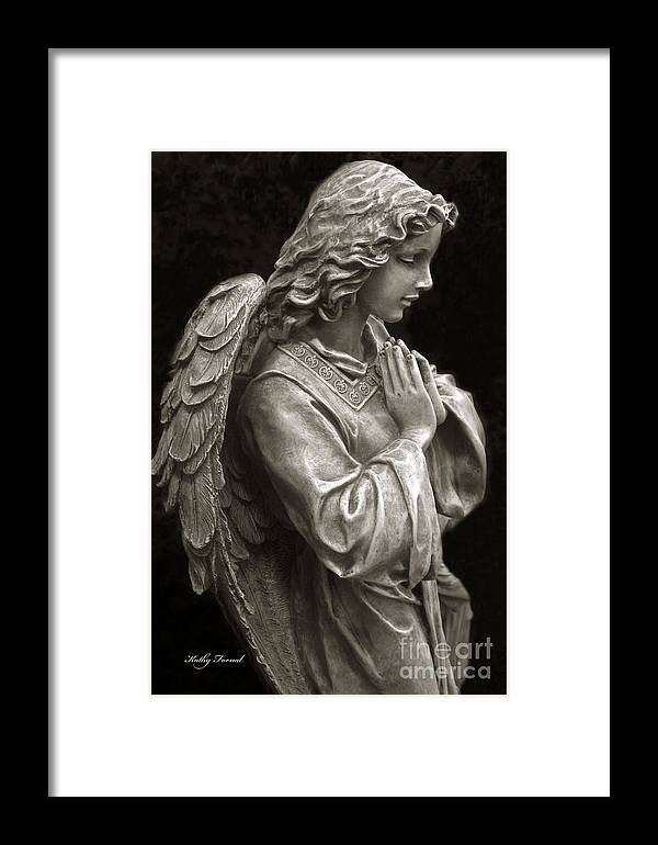Angel Art Framed Print featuring the photograph Beautiful Angel Praying Hands Christian Art Print by Kathy Fornal