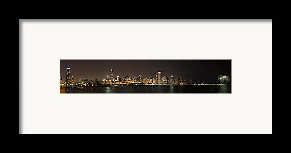 3scape Photos Framed Print featuring the photograph Beautiful Chicago Skyline With Fireworks by Adam Romanowicz