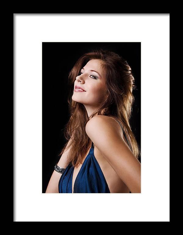 Adult Framed Print featuring the photograph Beautiful Girl Studio Shot by Daniel Barbalata
