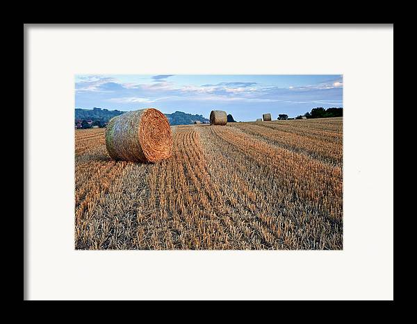Landscape Framed Print featuring the photograph Beautiful Golden Hour Hay Bales Sunset Landscape by Matthew Gibson
