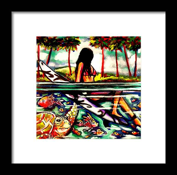 Surfing.seaturtle.island Framed Print featuring the painting Beautiful Life by Kimberly Dawn Clayton