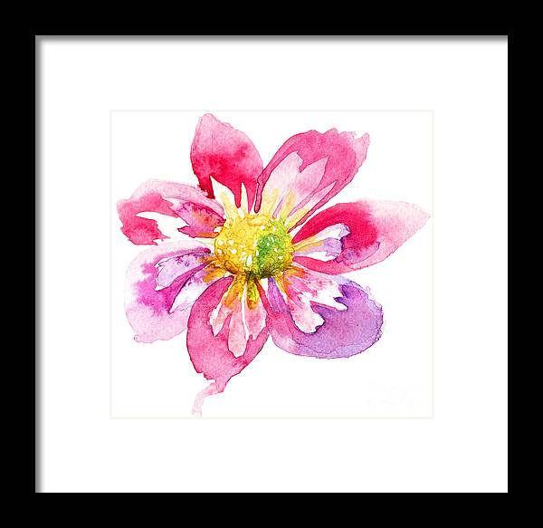 Abstract Framed Print featuring the painting Beautiful Pink Flower by Regina Jershova