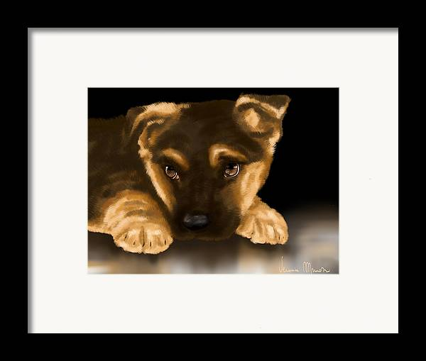 Digital Framed Print featuring the painting Beautiful Puppy by Veronica Minozzi