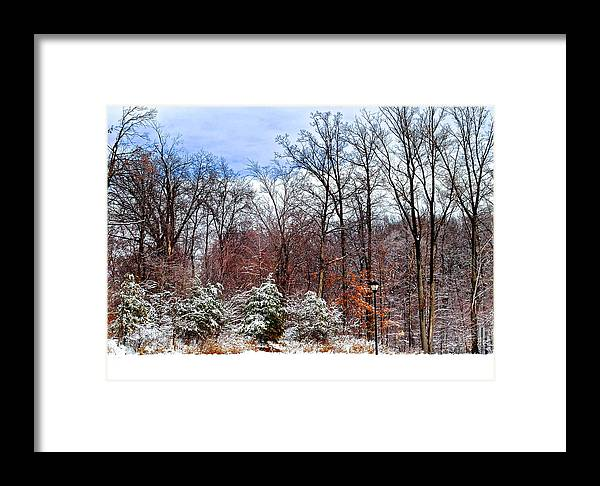 Snow Framed Print featuring the photograph Beautiful Scenery by Frozen in Time Fine Art Photography