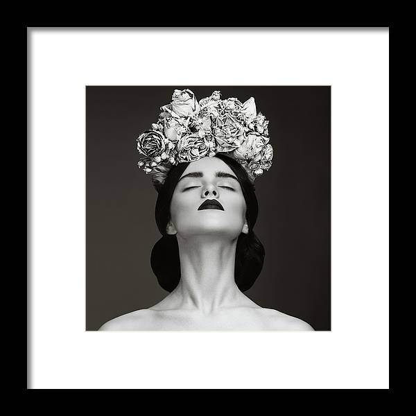 Crown Framed Print featuring the photograph Beautiful Woman With Wreath Of Flowers by Lambada