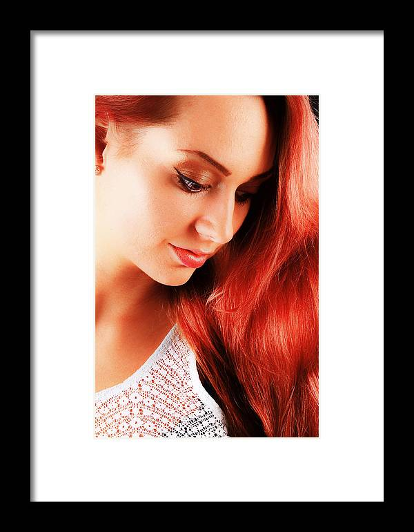 Woman Framed Print featuring the photograph Beauty In Red Hair by T Monticello