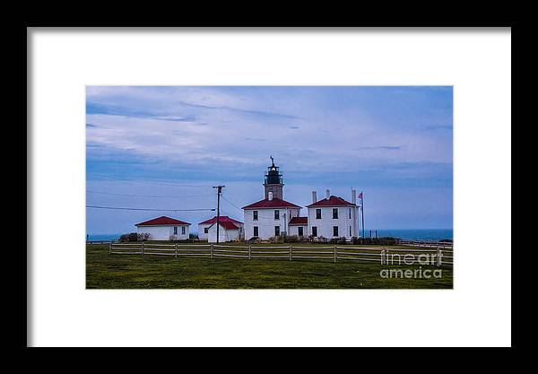 beavertail Lighthouse Framed Print featuring the photograph Beavertail Lighthouse. by New England Photography