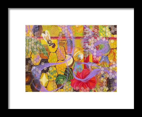 Bee Framed Print featuring the painting Beehive by Anne Cameron Cutri