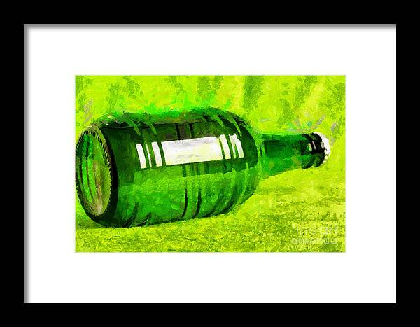 Alcohol Framed Print featuring the painting Beer Bottle Laying Over Green Painting by Magomed Magomedagaev