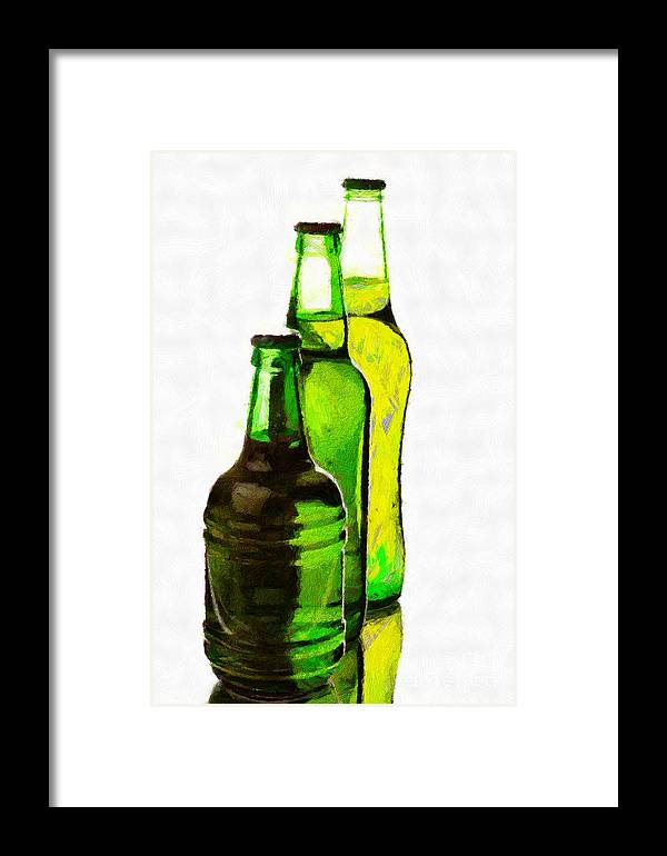 Glass Framed Print featuring the painting Beer Bottles Of Different Shapes Painting by Magomed Magomedagaev