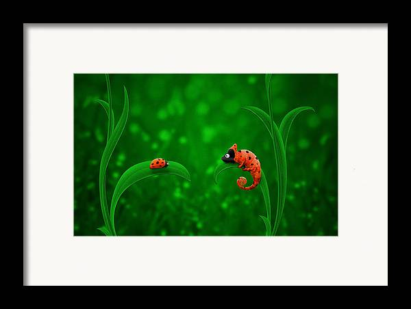 Abstract Framed Print featuring the digital art Beetle Chameleon by Gianfranco Weiss