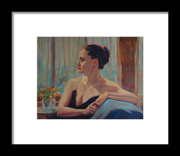 Portrait Framed Print featuring the painting Before The Ballet by Keith Burgess