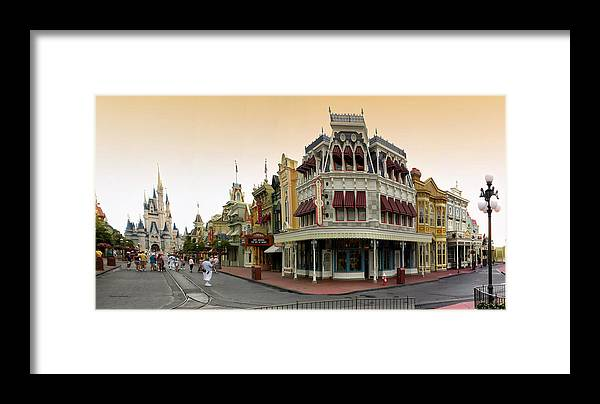 Magic Kingdom Framed Print featuring the photograph Before The Gates Open Early Morning Magic Kingdom With Castle. by Thomas Woolworth