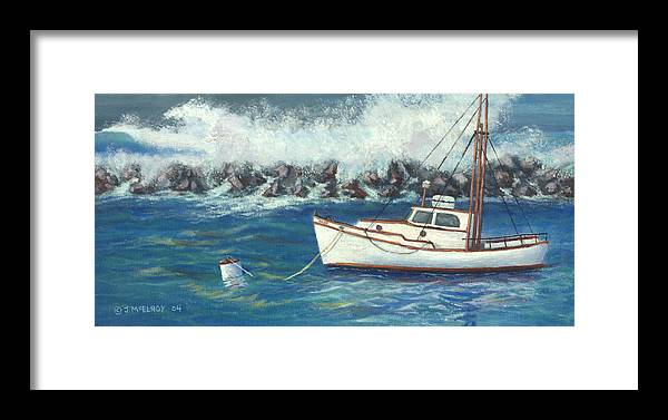 Ocean Framed Print featuring the painting Behind The Breakwall by Jerry McElroy
