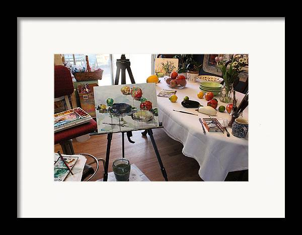 Photograph Framed Print featuring the photograph Behind The Scene - Eggplants And Fruits by Becky Kim
