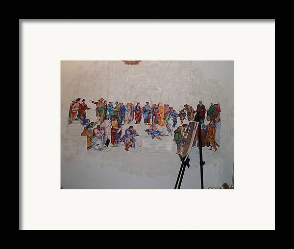 Photography Framed Print featuring the painting Behind The Scenes Mural 7 by Becky Kim