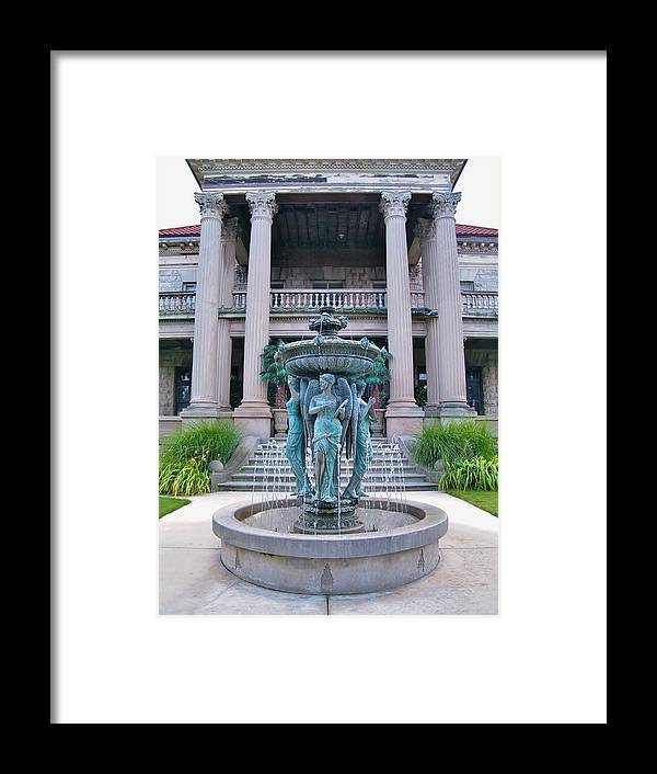 Mansion Framed Print featuring the photograph Beiger Mansion Front Entrance by Rory Cubel