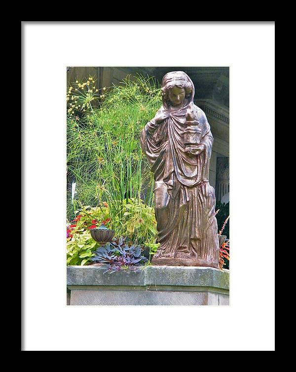 Statue Framed Print featuring the photograph Beiger Mansion Statue by Rory Cubel