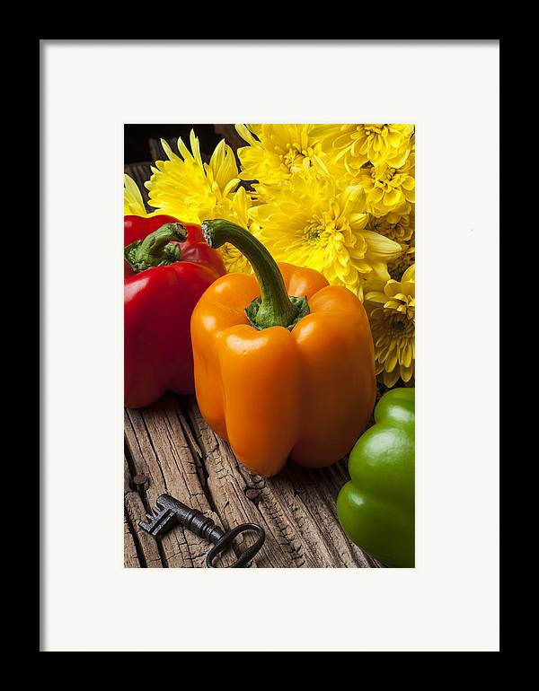 Bell Framed Print featuring the photograph Bell Peppers And Poms by Garry Gay