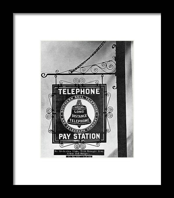 1899 Framed Print featuring the photograph Bell Telephone Sign, C1899 by Granger