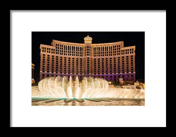 Las Vegas Framed Print featuring the photograph Bellagio Hotel And Casino Fountain by Clint Buhler