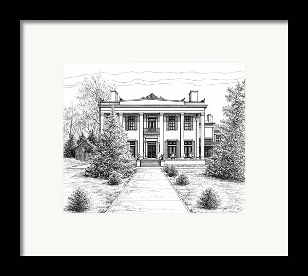 Pen Framed Print featuring the drawing Belle Meade Plantation by Janet King