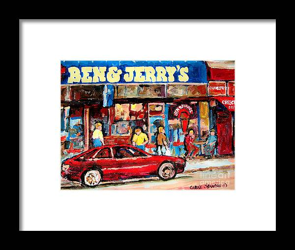 Cafescenes Framed Print featuring the painting Ben And Jerrys Ice Cream Parlor by Carole Spandau