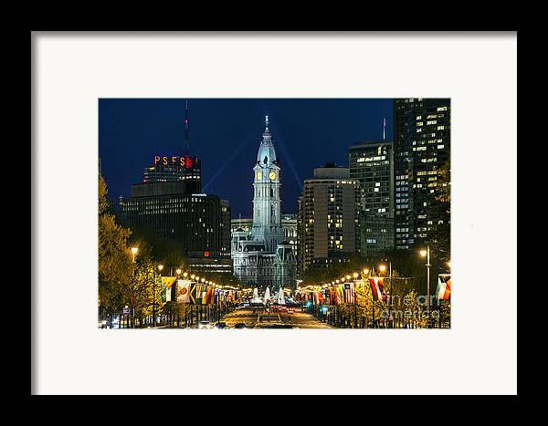 Ben Franklin Parkway Framed Print featuring the photograph Ben Franklin Parkway And City Hall by John Greim