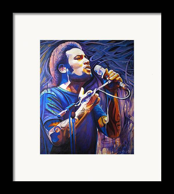 Ben Harper Framed Print featuring the painting Ben Harper And Mic by Joshua Morton