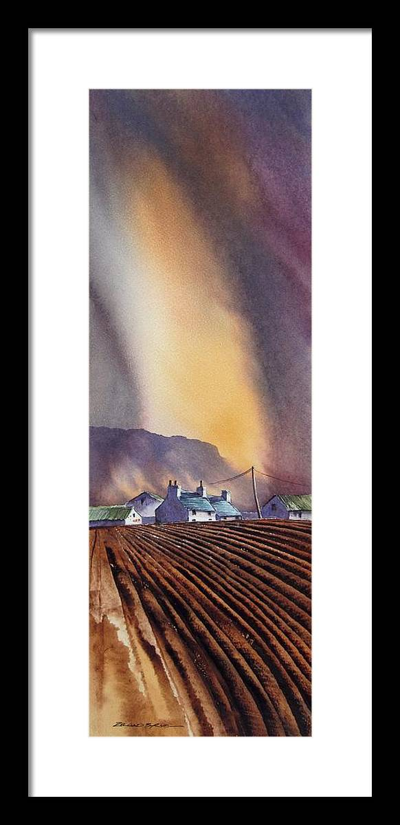 Landscape Framed Print featuring the painting Benbulbin Farm by Roland Byrne
