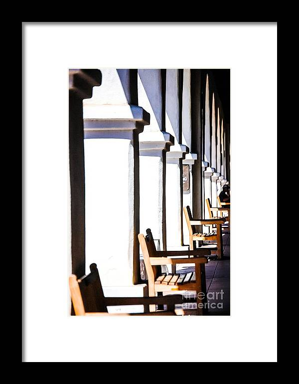 Still Life Framed Print featuring the photograph Benches On The Walk by Joe Galura
