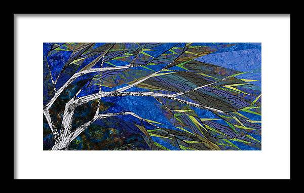 Tree Framed Print featuring the tapestry - textile Bending Not Breaking by Linda Beach