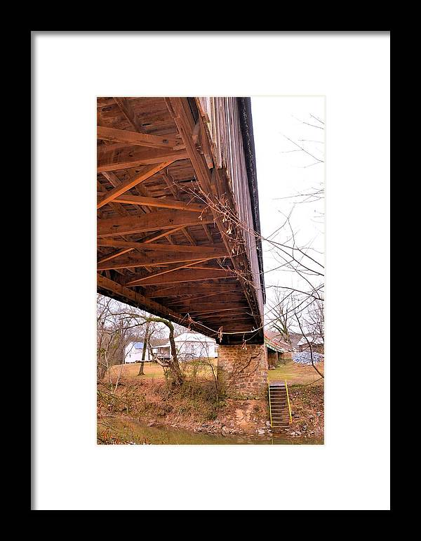 Covered Bridge Framed Print featuring the photograph Beneath Euharlee Covered Bridge by James Potts