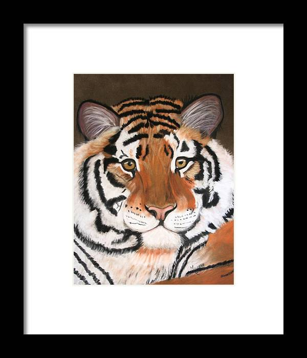 Jungle Framed Print featuring the pastel Bengal by Michele Turney