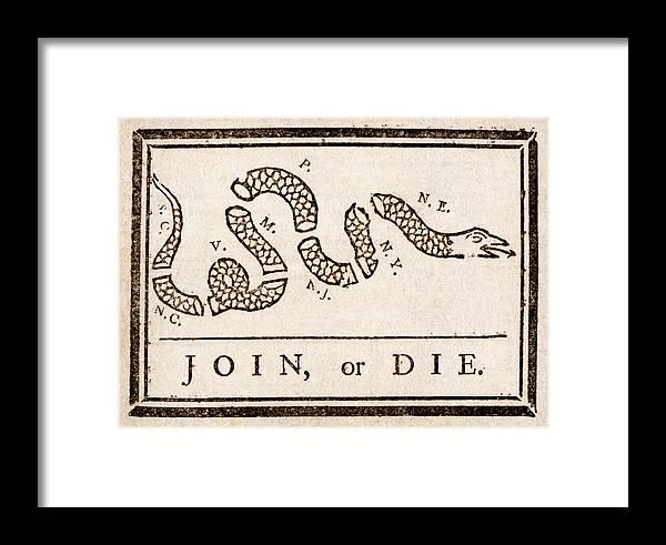 Benjamin Franklin\'s Join Or Die Cartoon Framed Print by Benjamin ...