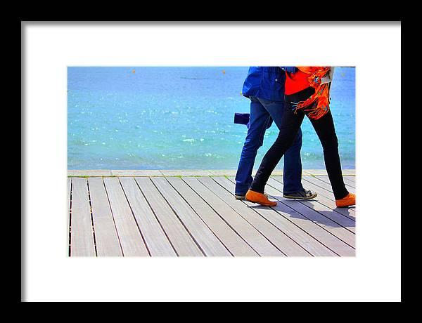 Boardwalk Framed Print featuring the photograph Benodet Boardwalk by David Adamson