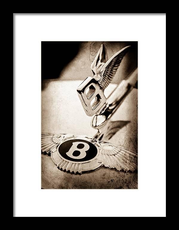 Bentley Hood Ornament Framed Print featuring the photograph Bentley Hood Ornament - Emblem by Jill Reger