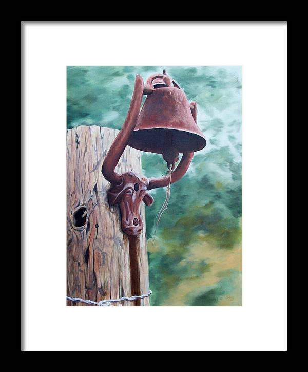Landscape Framed Print featuring the painting Beorne Texas  Cowbell by Scott Alcorn