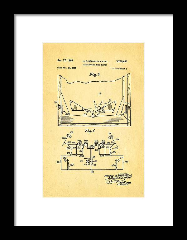 Famous Framed Print featuring the photograph Berninger Reprojecting Ball Bumper 2 Patent Art 1967 by Ian Monk