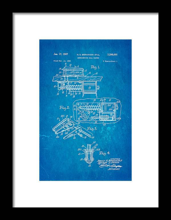 Famous Framed Print featuring the photograph Berninger Reprojecting Ball Bumper Patent Art 1967 Blueprint by Ian Monk
