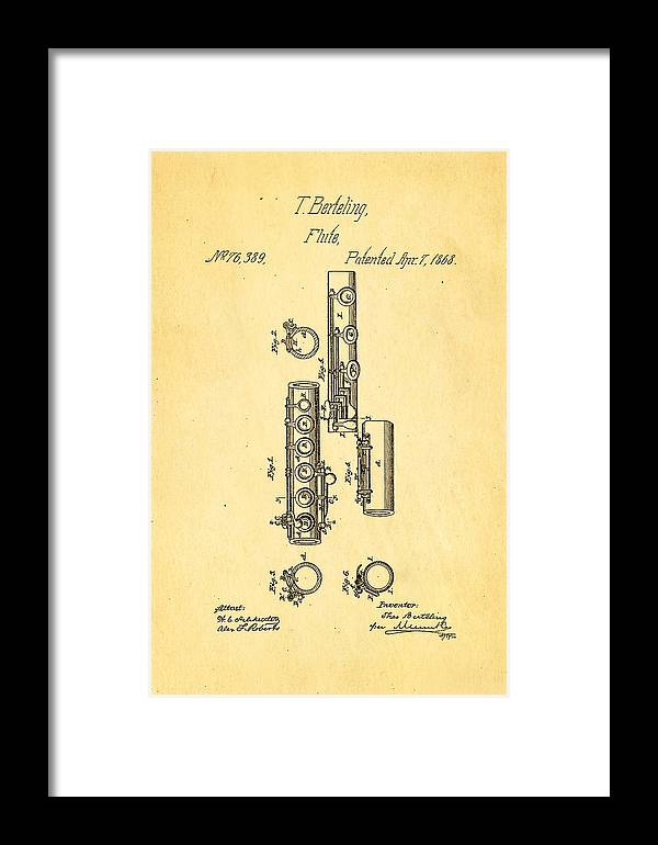 Famous Framed Print featuring the photograph Berteling Flute Patent Art 1868 by Ian Monk