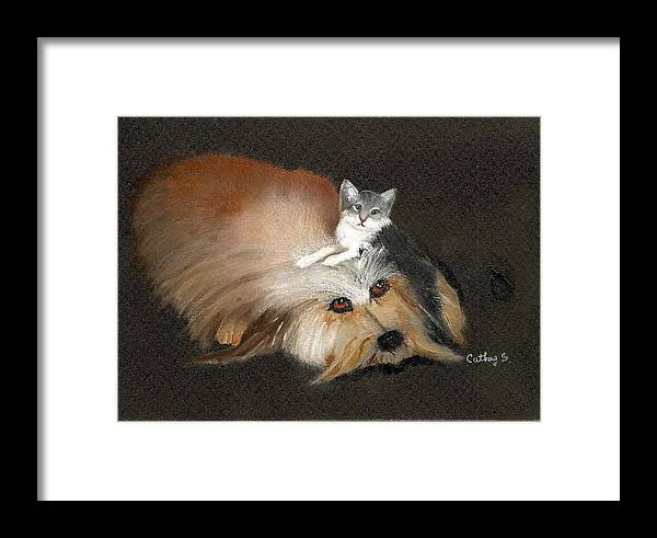 Cats And Dogs Framed Print featuring the painting Best Friends by Catherine Swerediuk