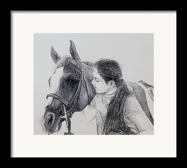 Pets Horses Horseback Riding Children Framed Print featuring the painting Best Friends by Tony Ruggiero