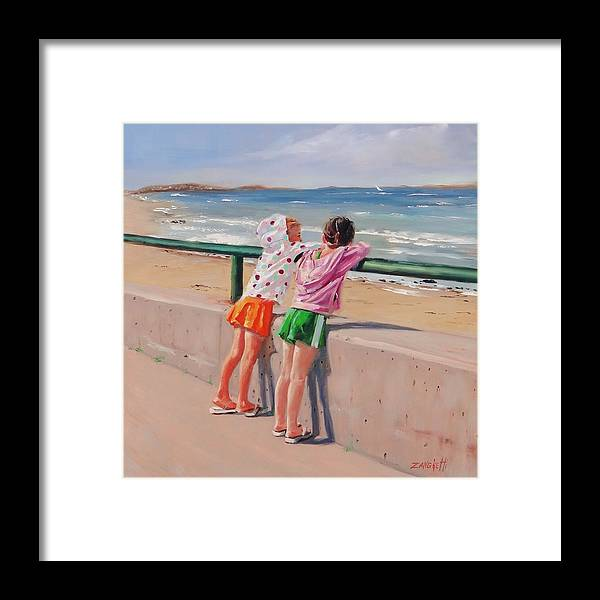 Little Girls Framed Print featuring the painting Best Friends Two by Laura Lee Zanghetti