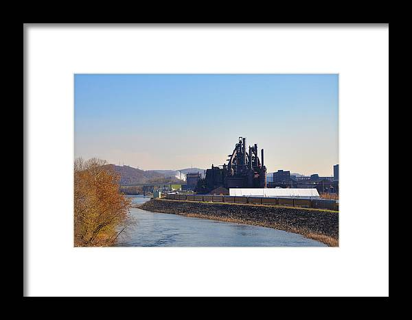 Bethlehem Framed Print featuring the photograph Bethlehem Steel And The Lehigh River by Bill Cannon