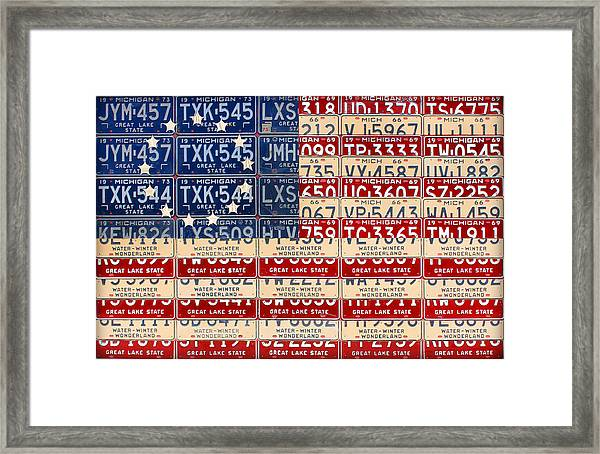graphic about Betsy Ross Printable Pictures identify Betsy Ross Flag Recycled Michigan License Plate Common Artwork Framed Print