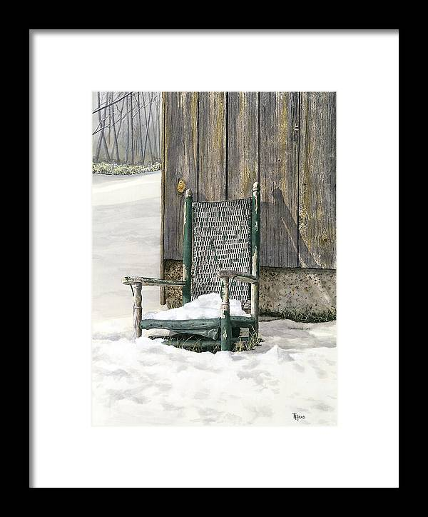 Chair Framed Print featuring the painting Better Days - Winter by Ted Head
